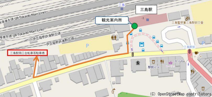 観光案内所からレンタサイクルの駐輪場への道