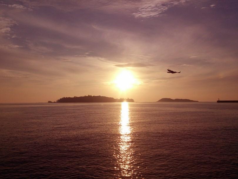 脇本海岸の夕日
