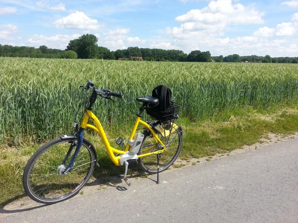 畑と自転車
