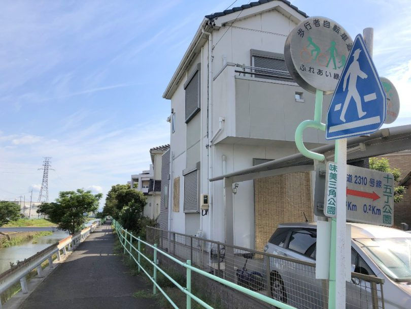 八田川合流後の住宅街