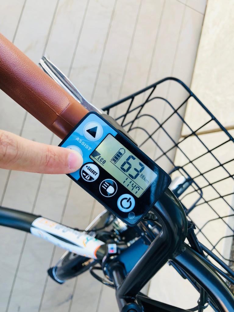 バッテリー残量はハンドル左側のユニットから確認できる