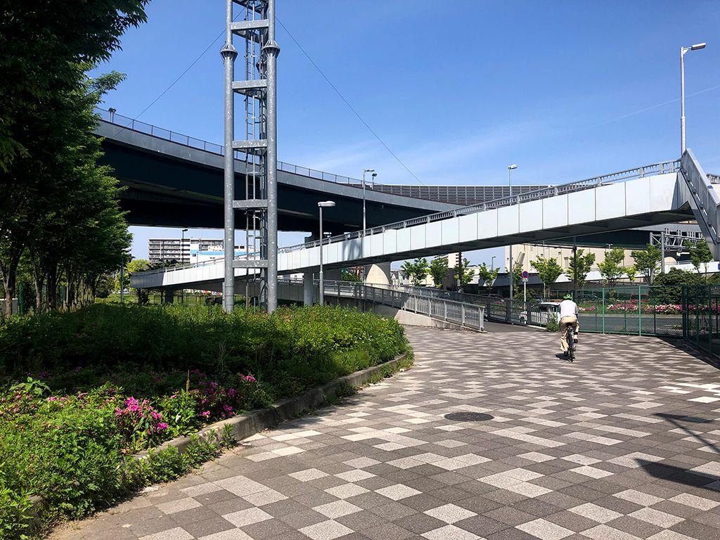 花博記念公園口交差点の自転車用の横断通路